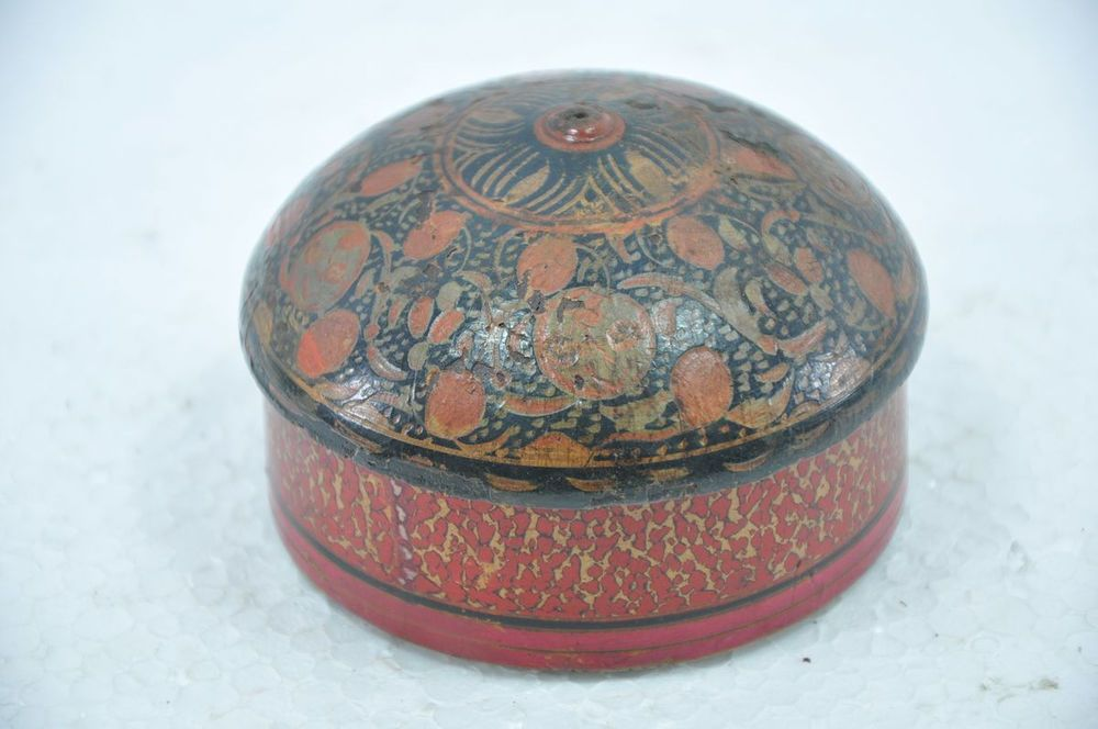 Old Wooden Floral Engraved Handpainted Kumkum Powder Box