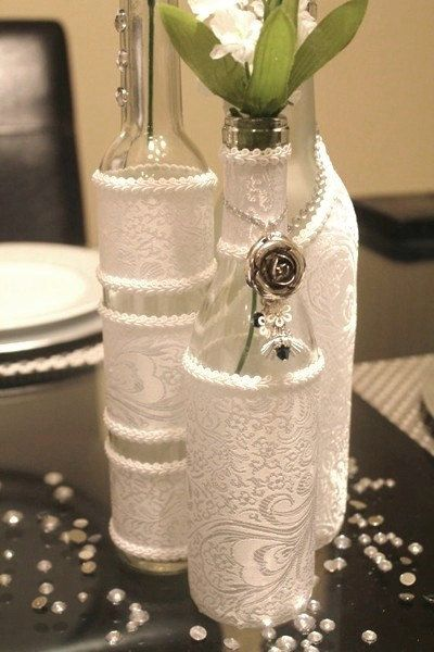 Set 3 decorated wine bottle centerpiece white wine for Wine bottle ideas for weddings