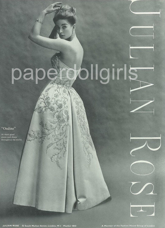 UK Vogue, 1963, Magazine Ad, Julian Rose, Evening Dress | Julian ...
