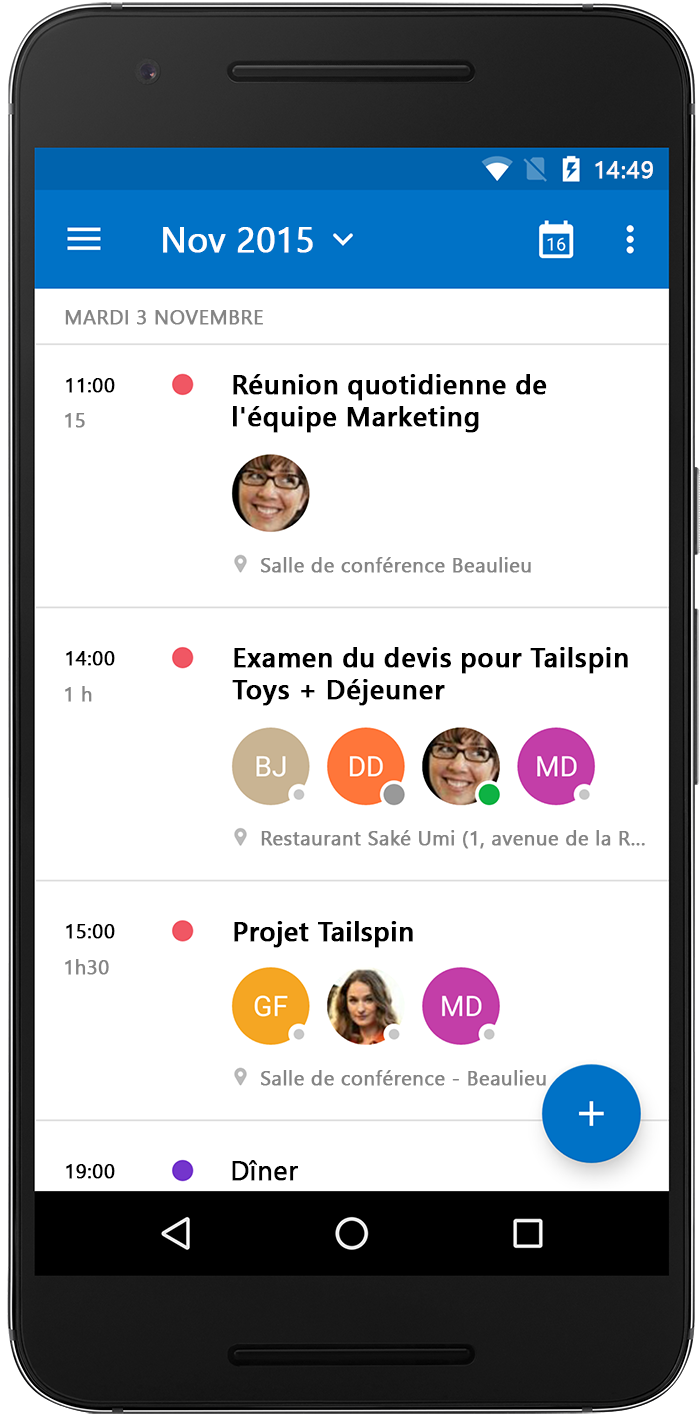 Smartphone Android avec l'application Outlook Salle de