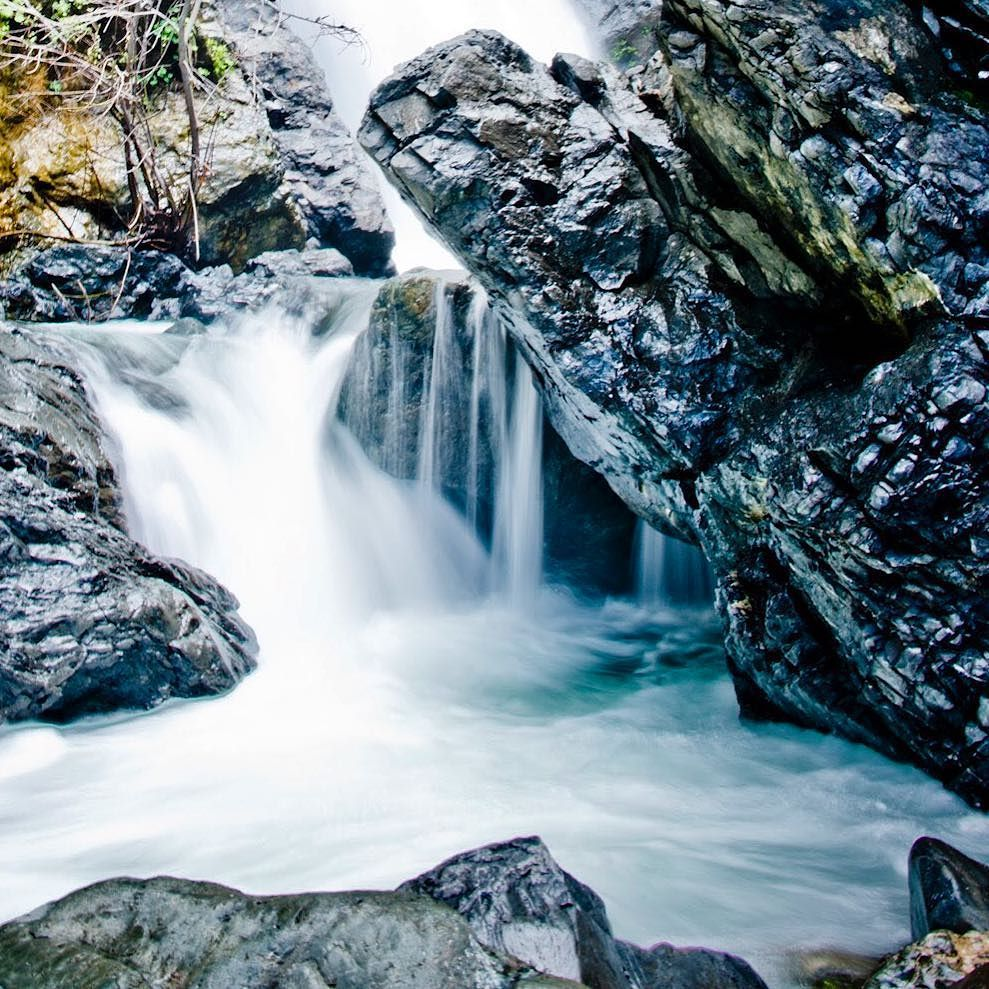 Close up of Salmon Creek Falls. If you're driving Big Sur. This is a must see hike. The falls and surrounding boulders are beautiful and only a very short distance off the trail. Found a secluded place to take a dip down the river. Water is not warm. by jeremy.photographer