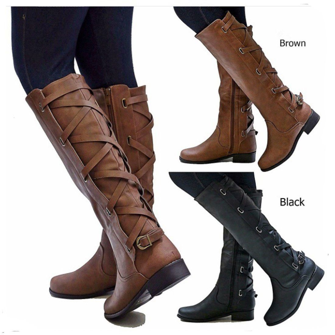LACE UP RIDING STYLE BOOTS SHOES SIZE NEW WOMENS BLOCK HEEL KNEE HIGH ZIP