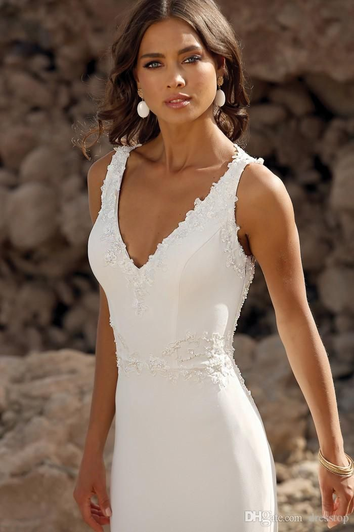 2020 Beach Mermaid Wedding Dresses Sleeveless V Neck Lace Appliques Sheer Back Beaded Boho Bridal Gowns Plus Size Sexy Robes De Mariée Wedding Dresses Photos Wedding Dresses Sexy From Dresstop, $117.30| DHgate.Com