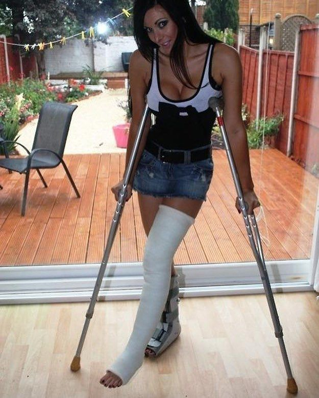 Amputee nina is walking with her pegleg