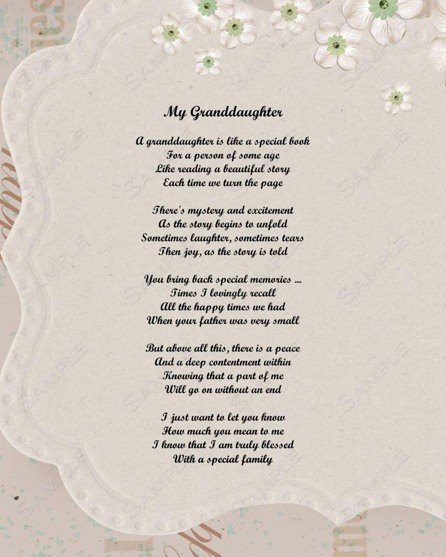 Granddaughter Poem Love Poem 8 X 10 Print by