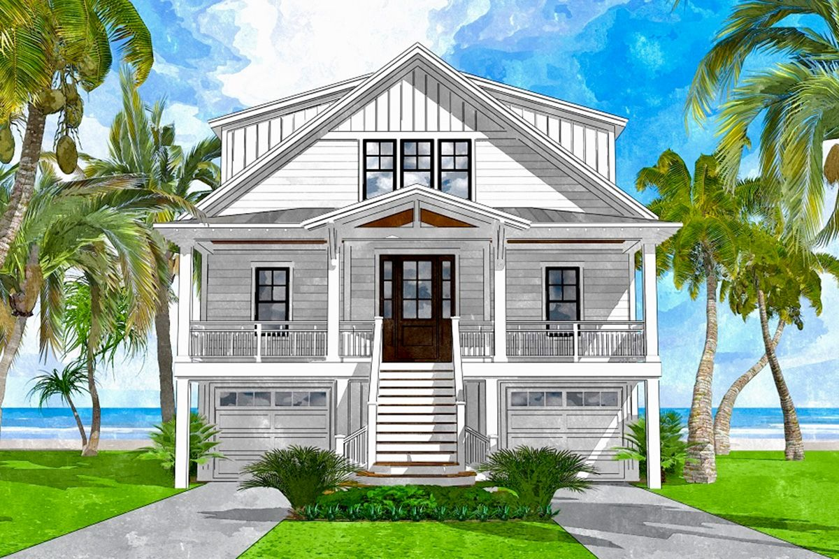 Plan 15242nc Coastal House Plan With Views To The Rear Coastal House Plans Beach House Plans Beach House Floor Plans
