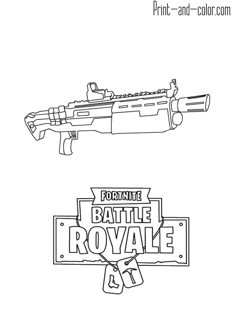 Fortnite Battle Royale Coloring Page Weapon Heavy Shotgun Fortnite