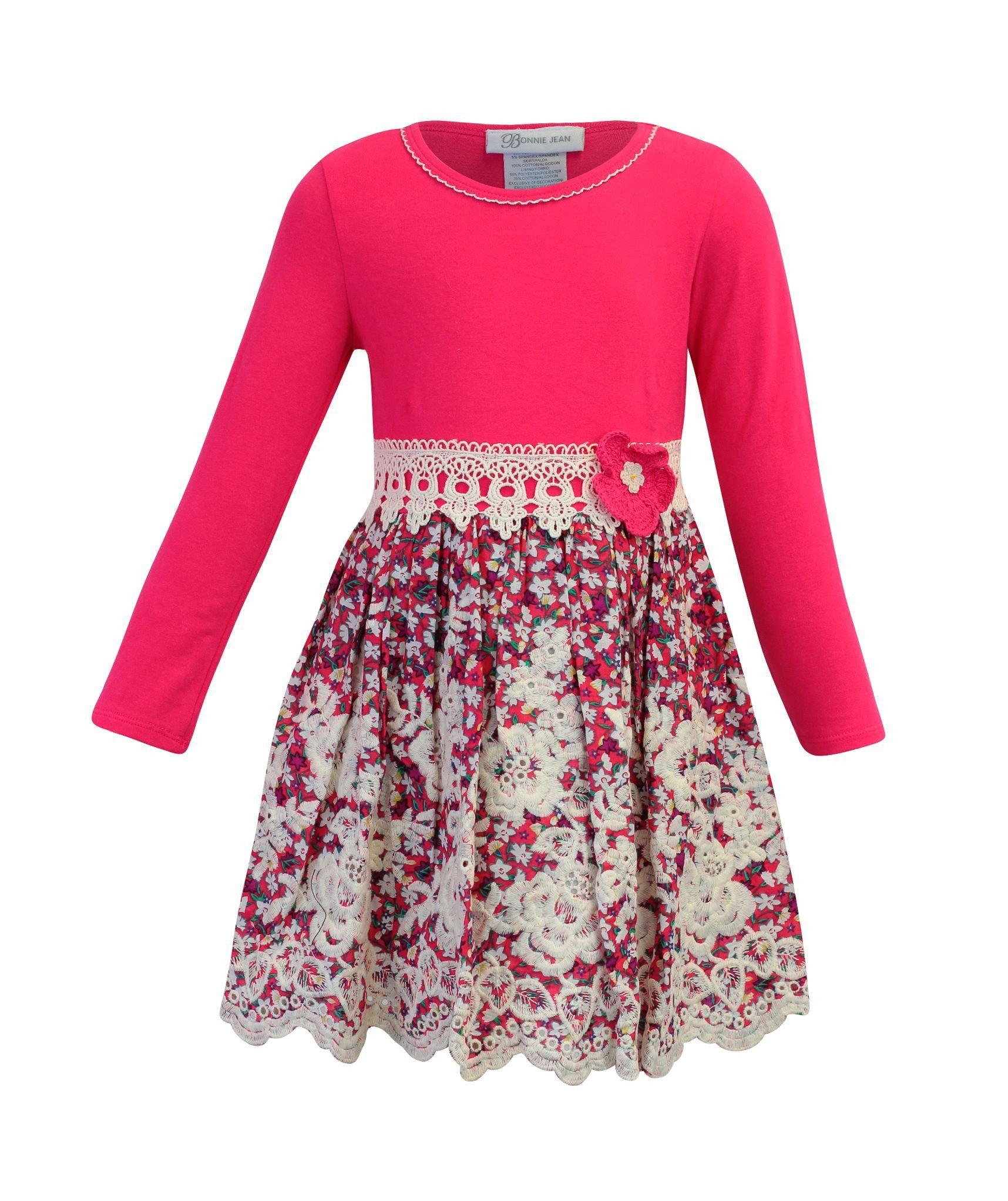 af5a21a7699 Bonnie Jean Little Girls 2- 6X Long Sleeve Mix Media Floral Print Dress