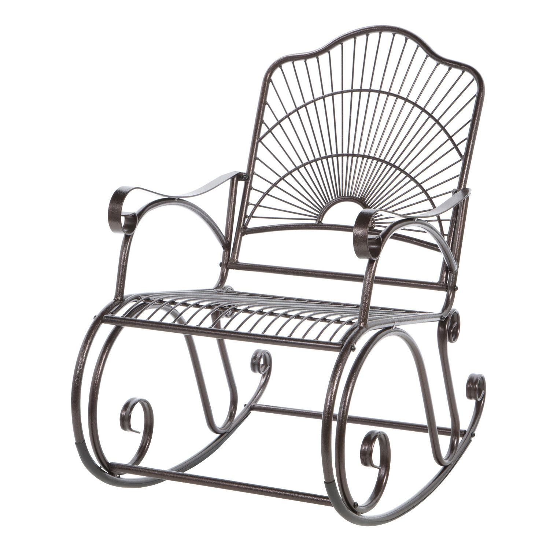 International Caravan Sun Ray Wrought Iron Rocking Chair
