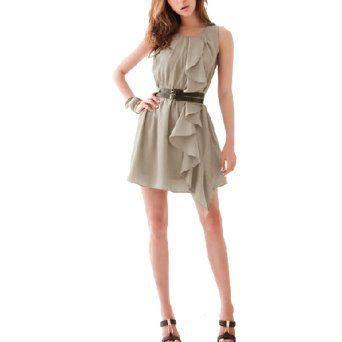 Allegra K Ladies Ruffled Accent Chiffon Scoop Neck Mini Dress Khaki XS Review