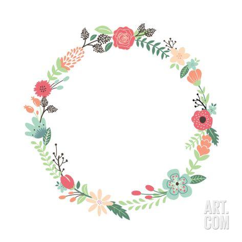 Vintage Flowers Wreath Art Print Yenz Art Com In 2020 Flower Drawing Floral Wreaths Illustration Wreath Drawing