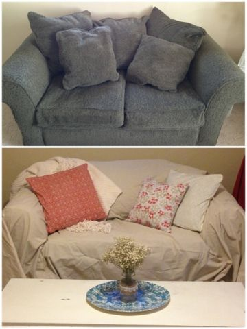 Easy Cheap Couch Makeover Couch Covers From Drop Cloths Shabby