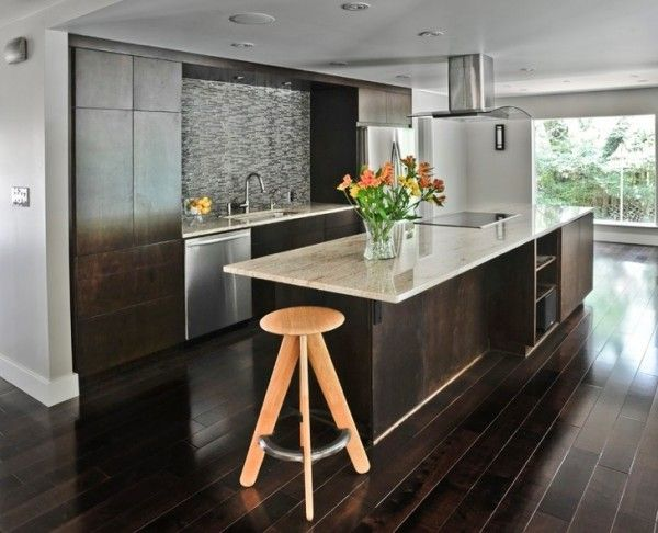 Dark kitchen cabinets with dark hardwood floors kitchen for Dark tile kitchen floor