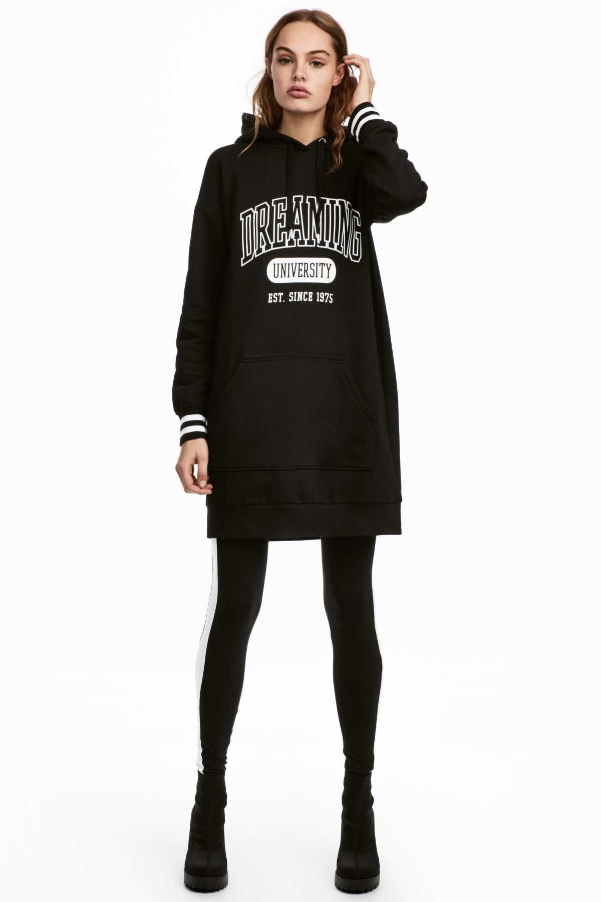 Black Dreaming University. Short dress in sweatshirt fabric with a ... 4686d85886