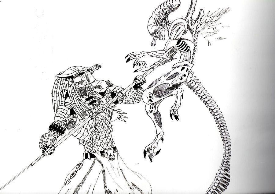 Alien Vs Predator Coloring Pages 1 In 2021 Alien Vs Predator Coloring Pages Alien