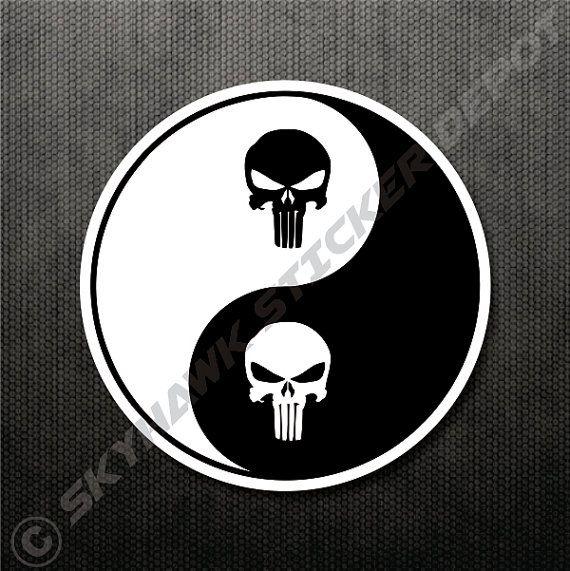 Punisher skull yin yang vinyl decal bumper by skyhawkstickerdepot