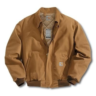 $205, Tobacco Bomber Jacket: Carhartt Frj195 Flame Resistant Duck Bomber Jacketquilt Lined Brown 5x Large Regular. Sold by Dungarees.net. Click for more info: http://lookastic.com/men/shop_items/74634/redirect
