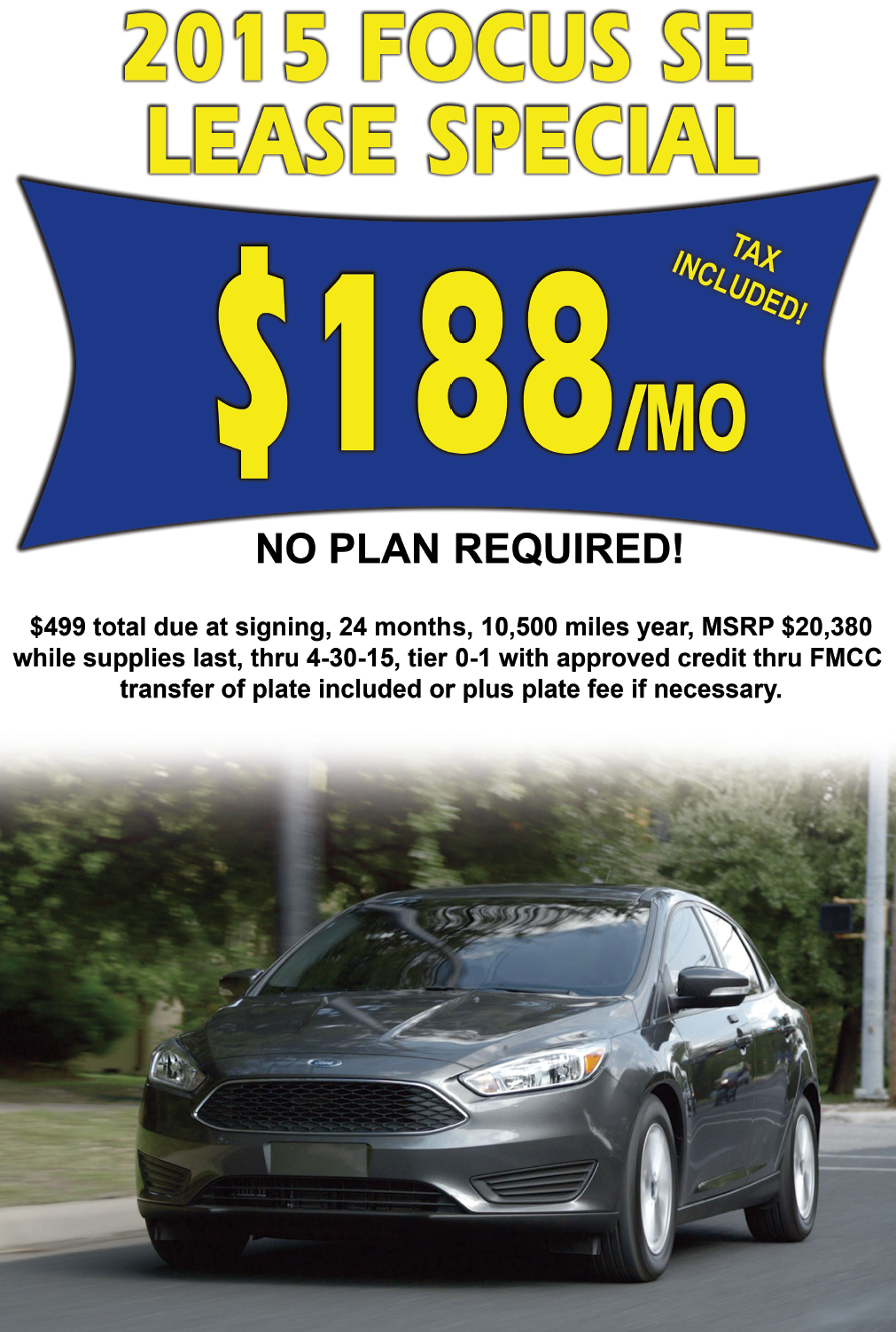 2015 Ford Focus Lease Deal at Lasco Ford April 2015