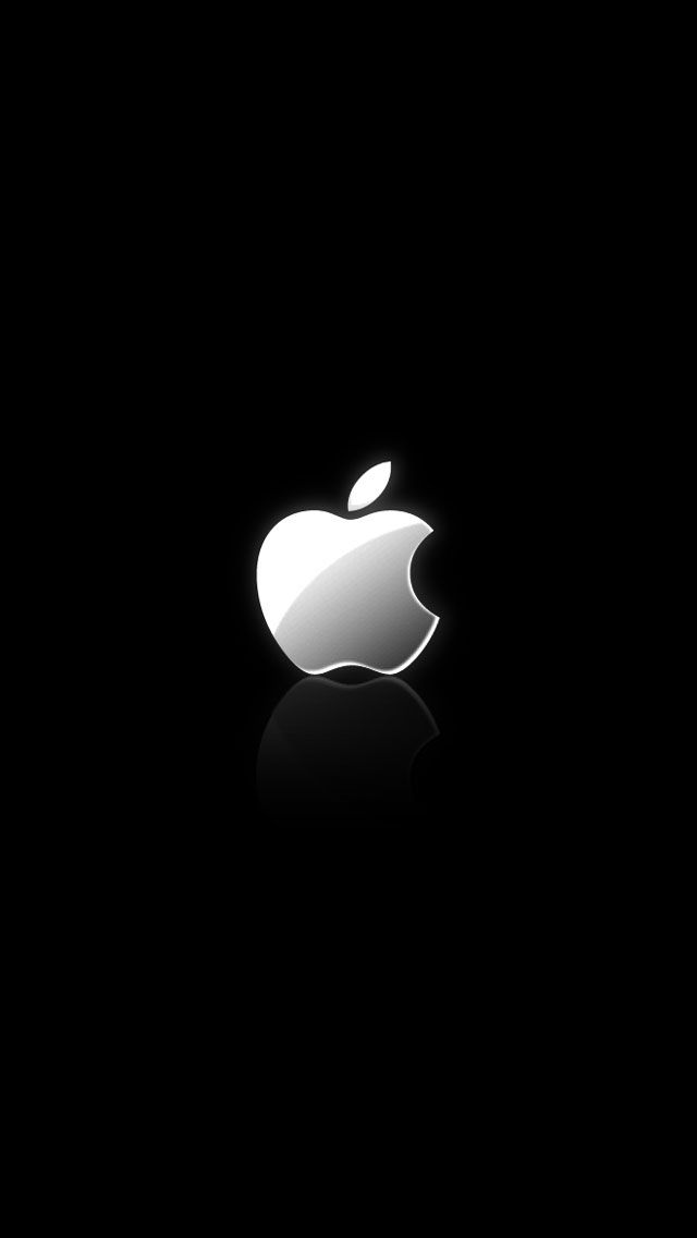 Apple Shiny Silver Logo Reflection Iphone 5 Wallpaper Iphone Wallpaper Logo Apple Iphone Wallpaper Hd Apple Wallpaper