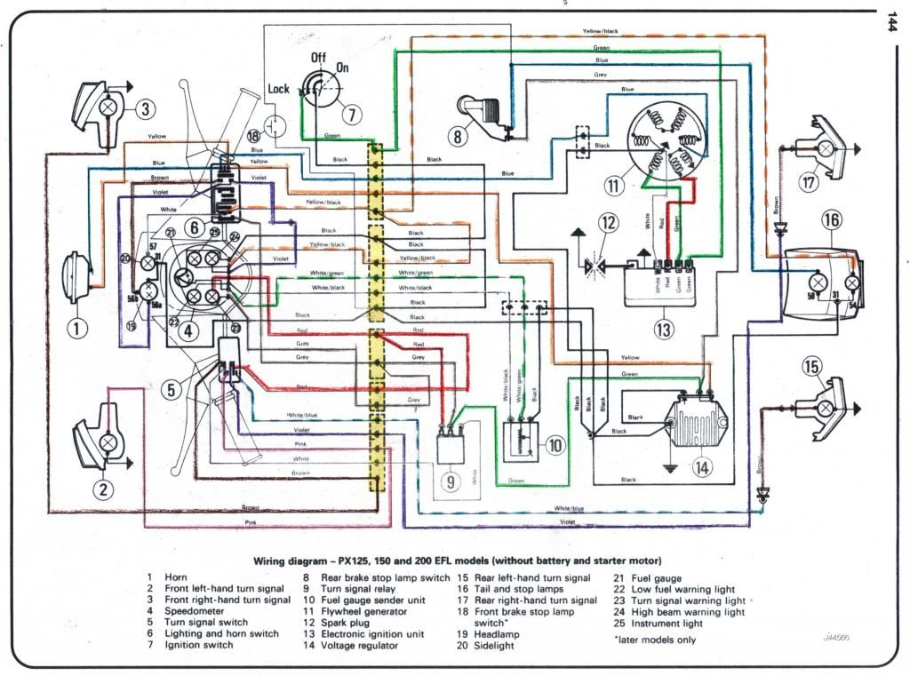 vespa wiring diagram no battery no starter vespa pinterest rh pinterest co uk Vespa GT200 Wiring-Diagram Only Light Switch Wiring Diagram
