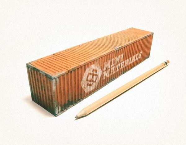 Miniature Shipping Container | Mini Materials | Futuristic crate ...