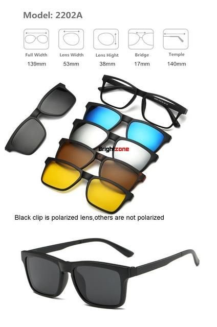 d0d885d1e5b57 Brightzone Vintage 5 +1 Set Glasses Women Men Mirror Polarized Sunglasses  Clip-on Make Prescription Myopia Hyperopia Astigmatism