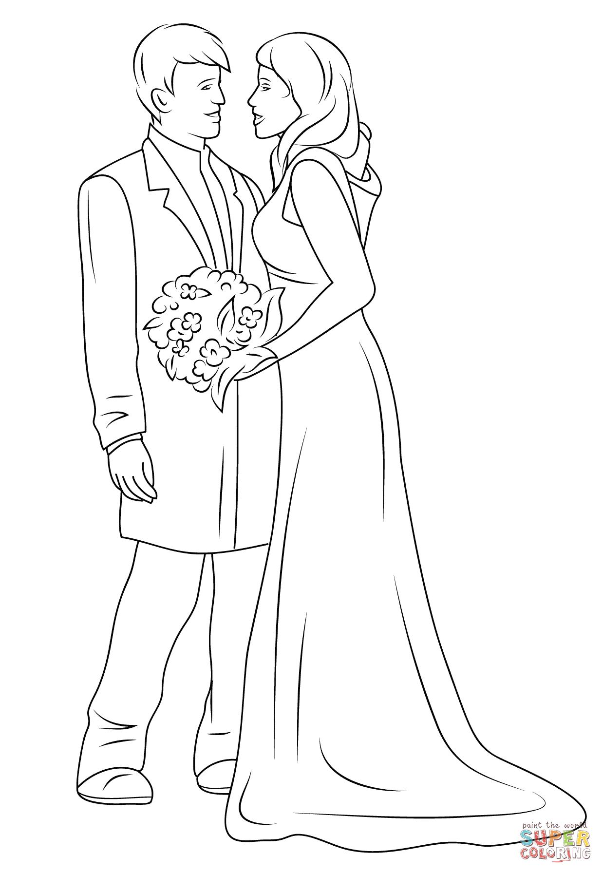 Wedding Couple Coloring Page Free Printable Coloring Pages Wedding Coloring Pages Love Coloring Pages Cinderella Coloring Pages