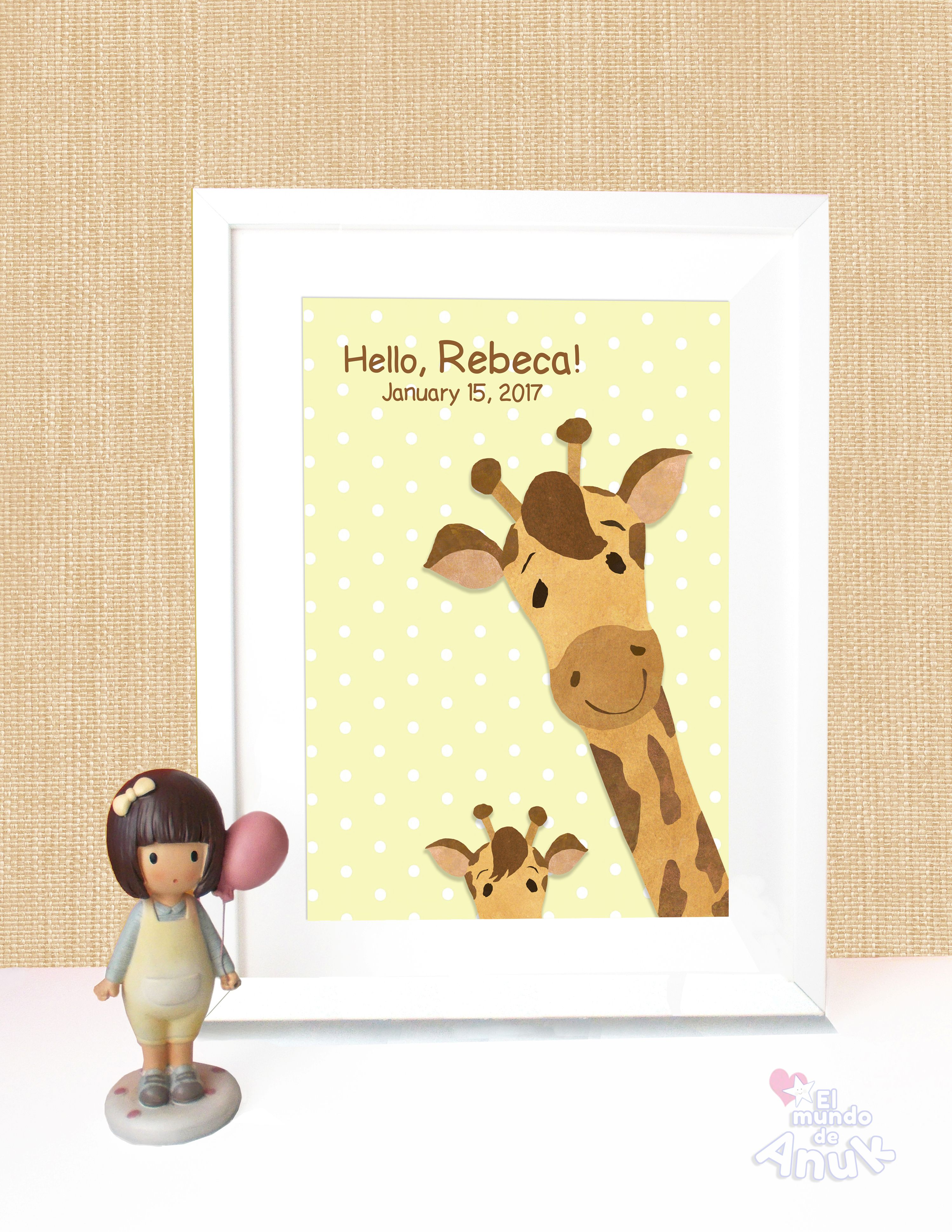 Giraffe, Nursery Wall Art, Children Illustration, Baby Bedroom, Baby ...