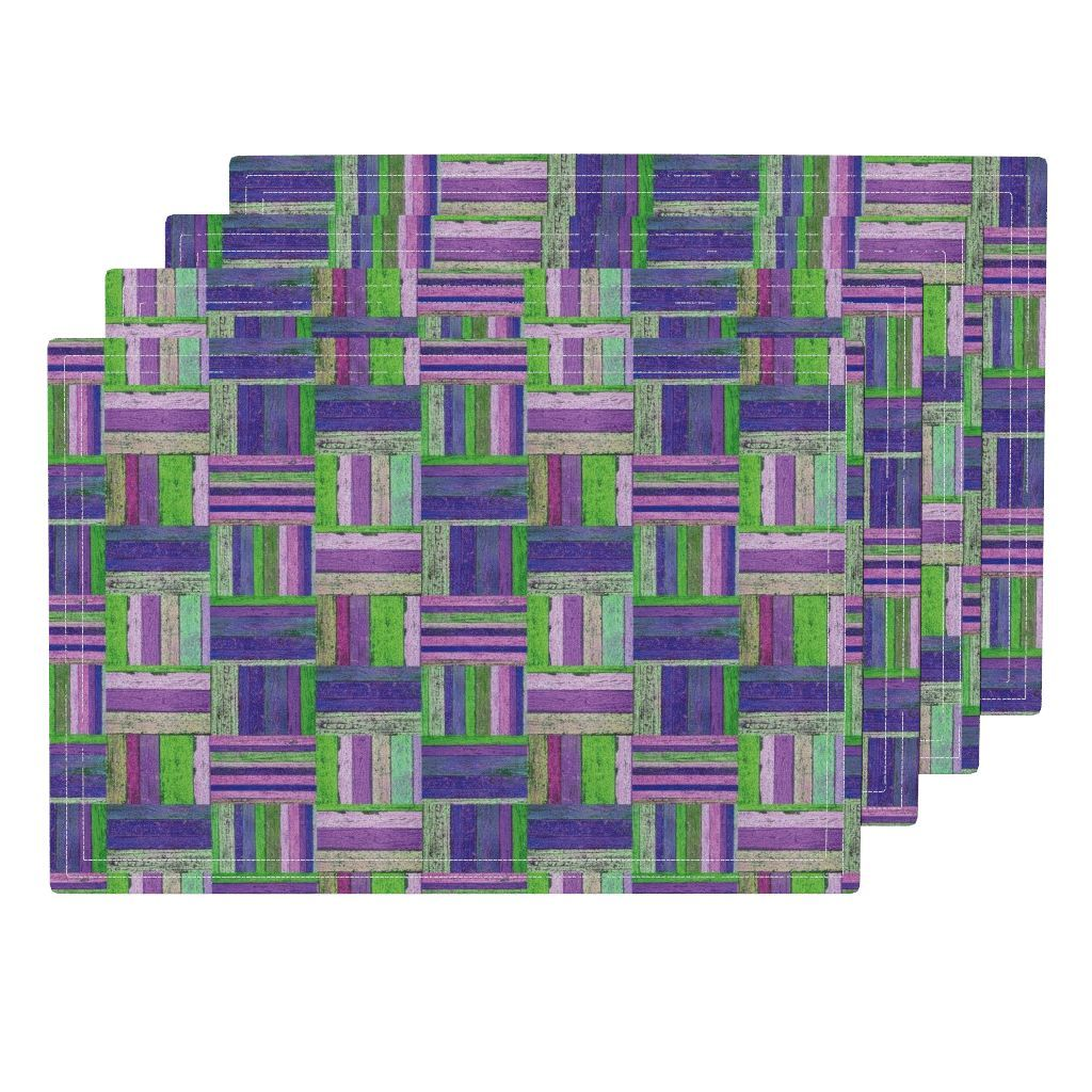 Lamona Cloth Placemats featuring SPRING GREEN PURPLE PARQUETRY WOOD MOSAIC PARQUET PLANK BOARDS TILES by paysmage | Roostery Home Decor