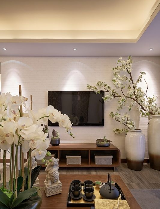 White Orchids And White Silk Cherry Blooms Give A Chinese Feel More. Living  Room ModernLiving ...