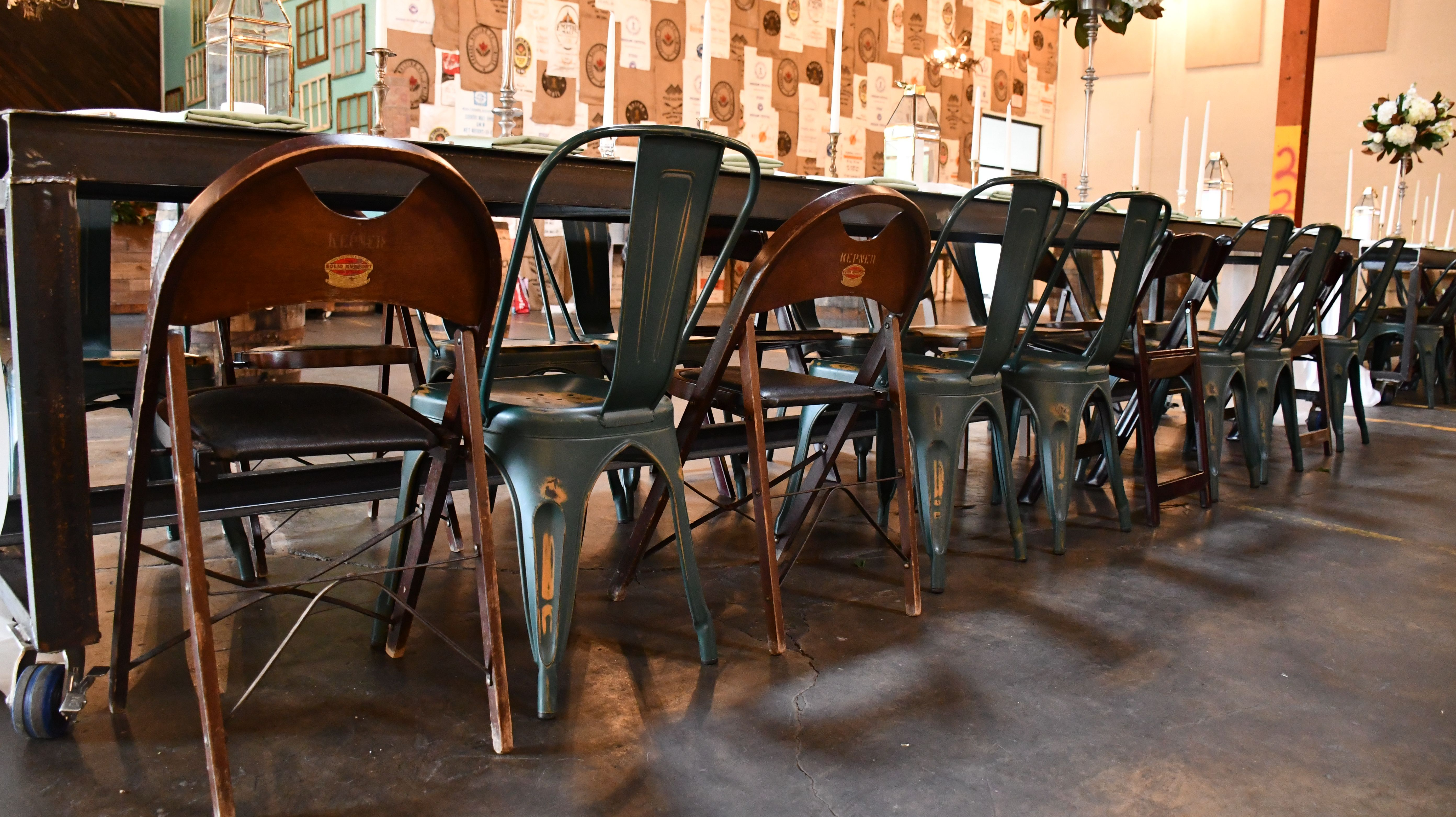 Kepner folding chairs with black cushions mix and match