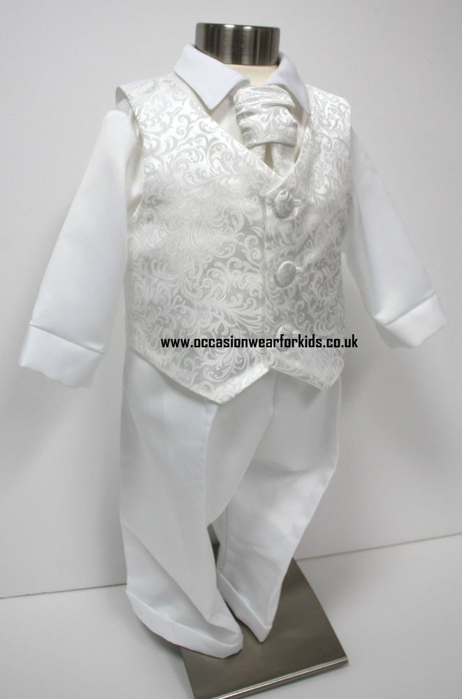 Boys baby children white Long sleeves christening shower outfits suits 4 pcs set