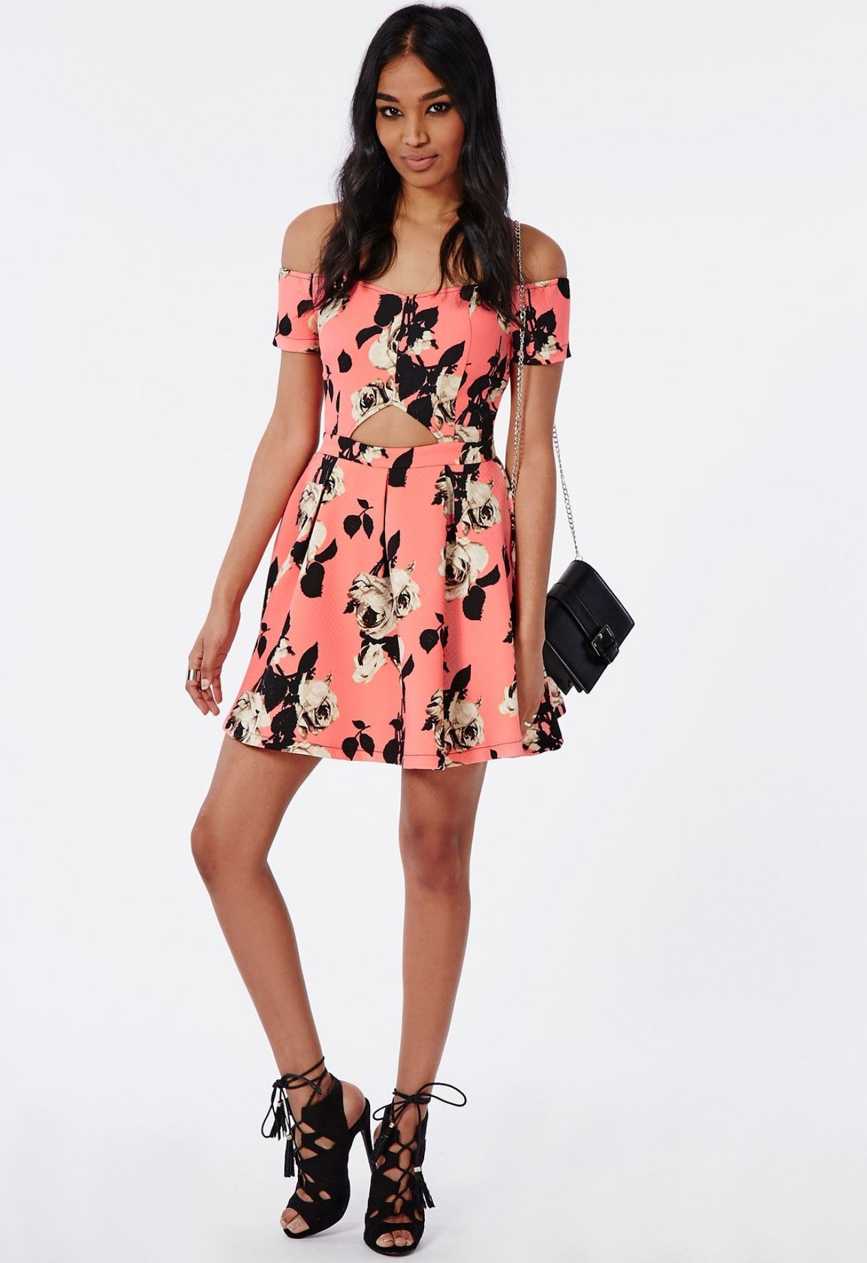 Missguided Floral Cut out Sweetheart Skater Dress