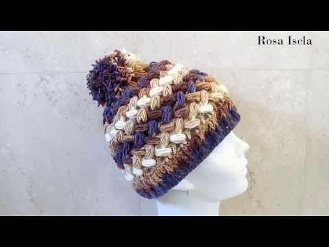Gorro Crochet en Punto Puff Entrecruzado / Tutoriales | Crochet y ...
