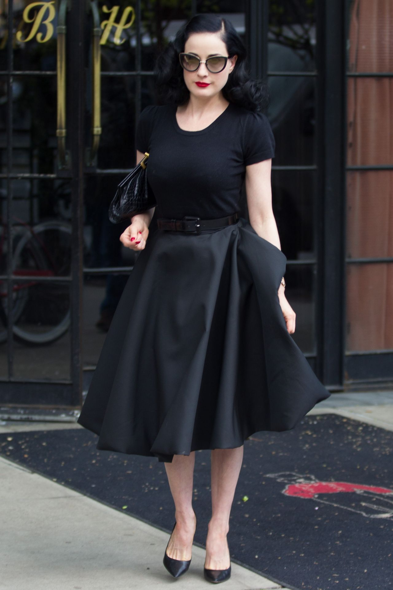 e1f33e6f52 Dita Von Teese All in Black - Leaving Her Hotel in New York City - May 2014