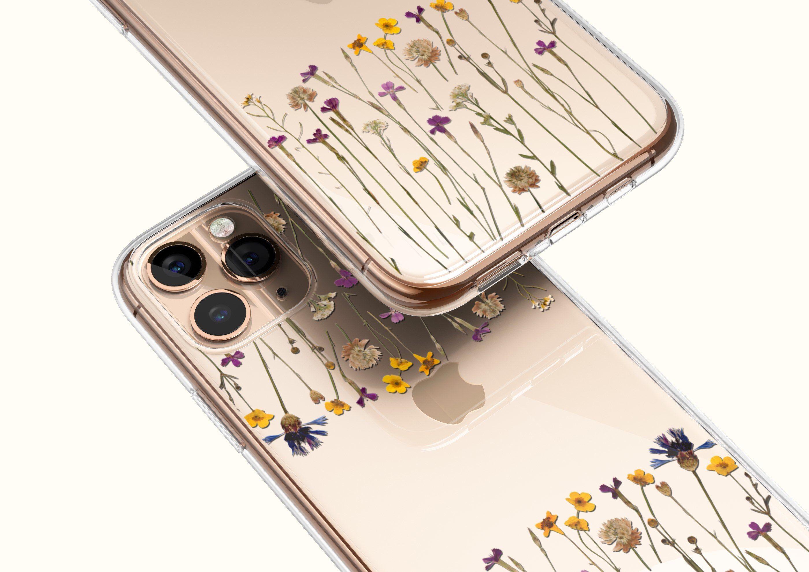 Minimal pressed wild flower print phone case for iphone 11