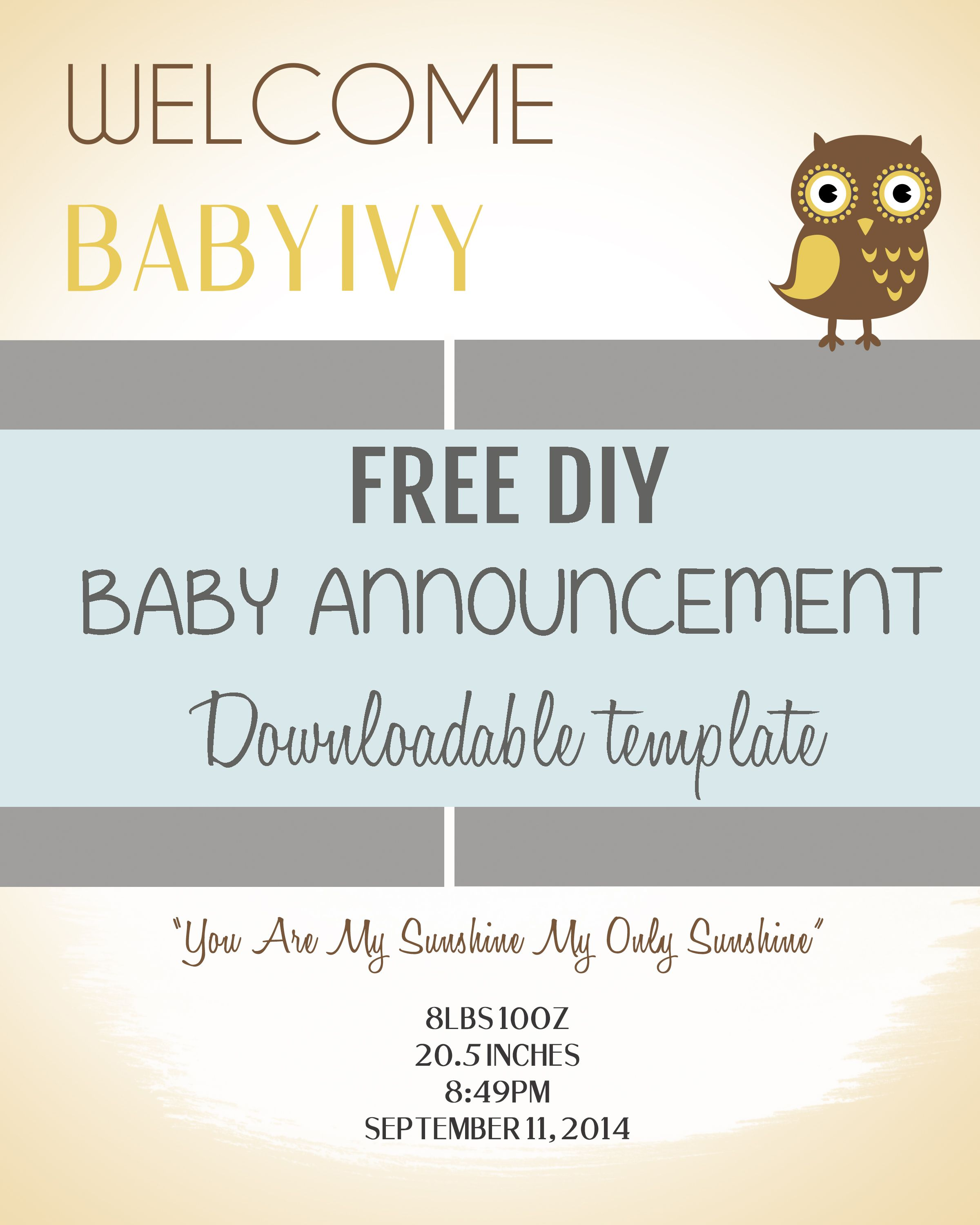 Diy baby announcement template baby announcements for Free online birth announcements templates
