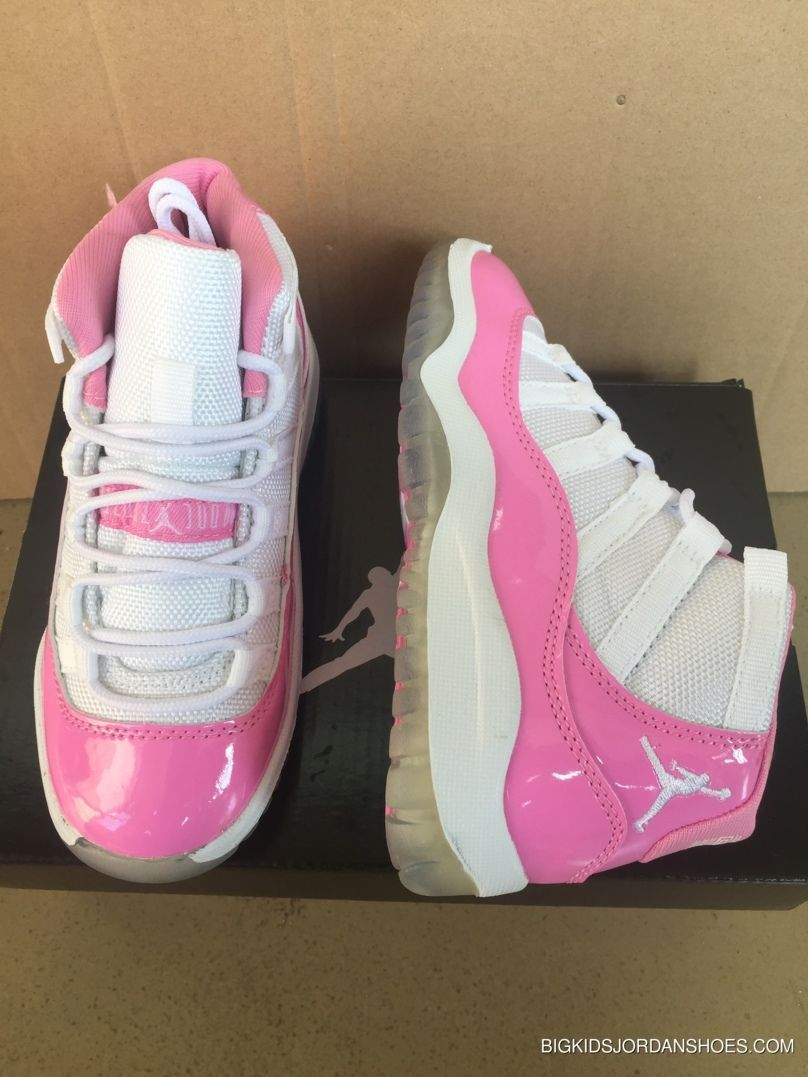 best sneakers 47a40 74910 2017 Kids Air Jordan 11 Pink White Sneakers Copuon Code ...