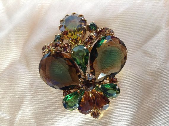 Large Prong Set Vinatge Brooch with Watermelon Faceted Rhinestones on Etsy, $42.00