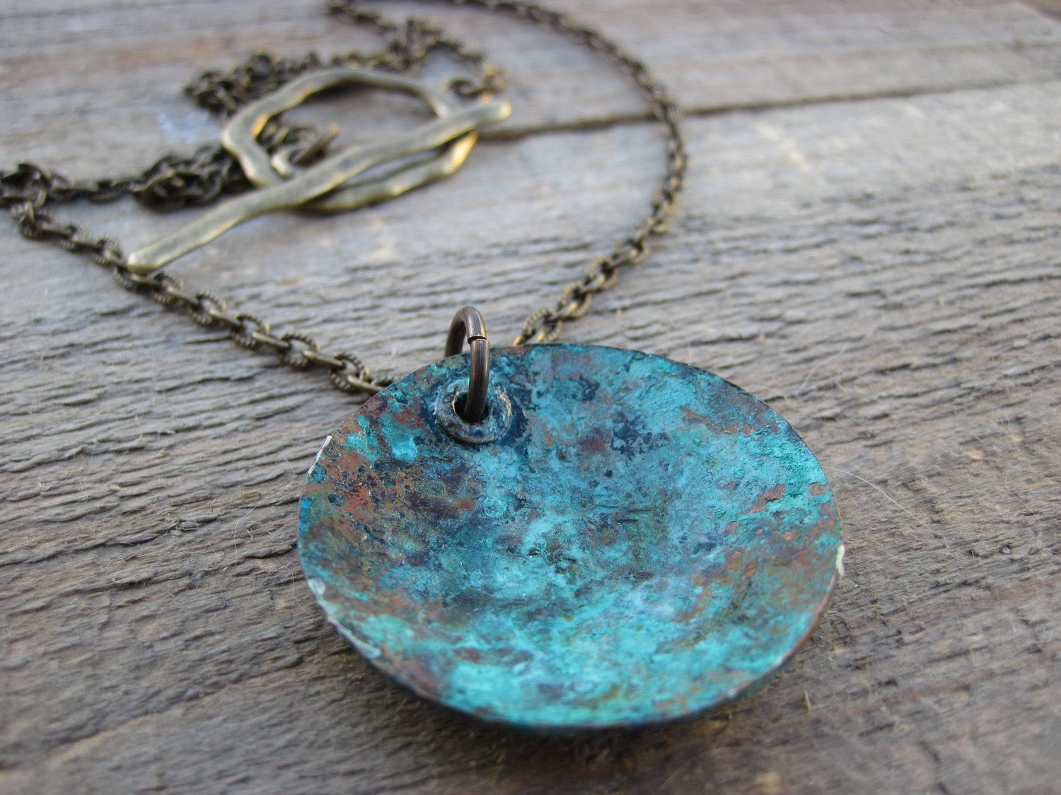 Boho Necklace Copper pendant with bluish green by CopperTreeArt, $29.00