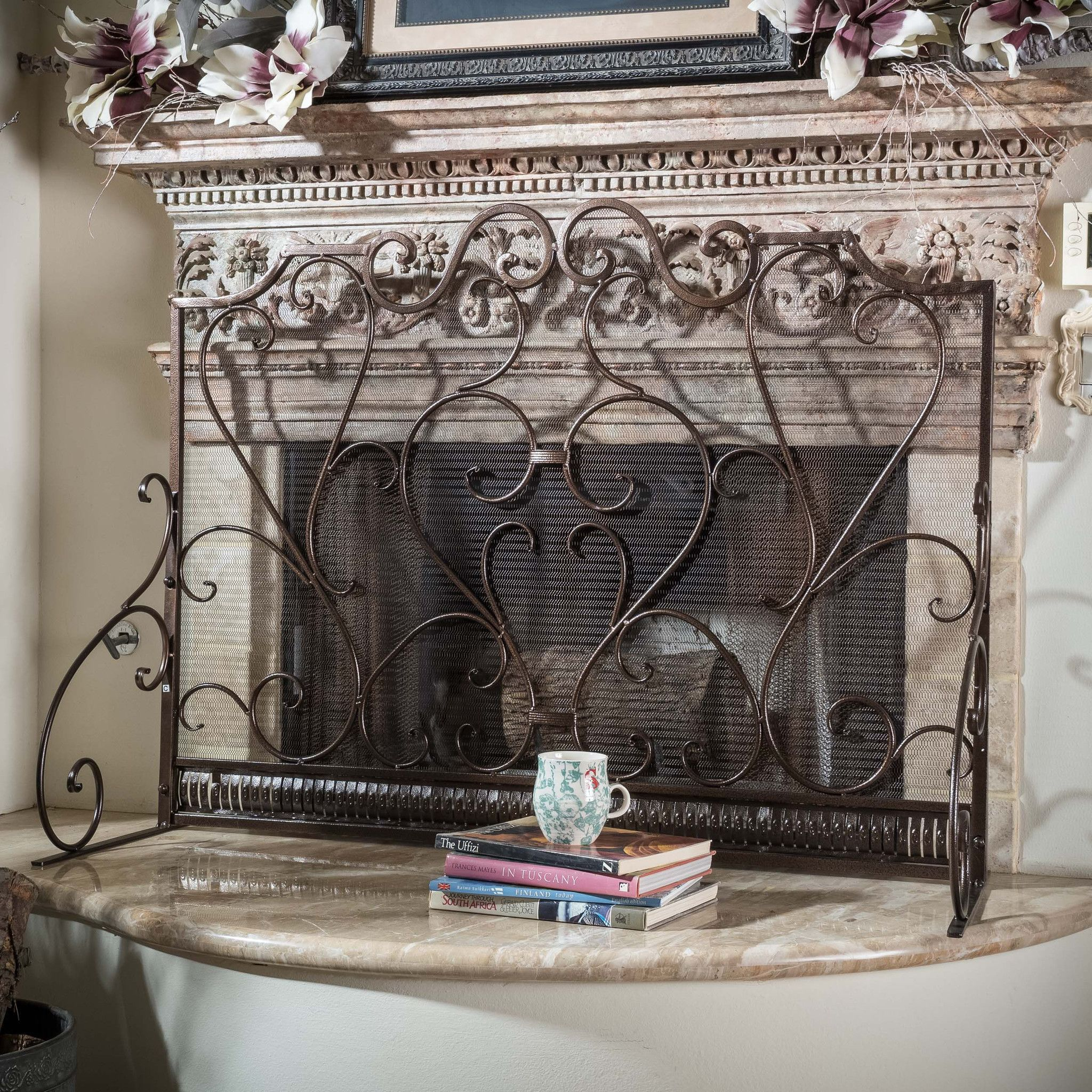 picture hearth wrought crest screen fireplace iron coppersx powde with solid doors plow p large of