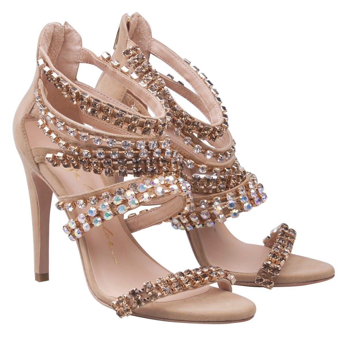 5a785fc93 SANDÁLIA SALTO ALTO NUDE COM PEDRAS - LuizaBarcelos Comprar Sapatos, Meia  Calça, Sandalia Salto