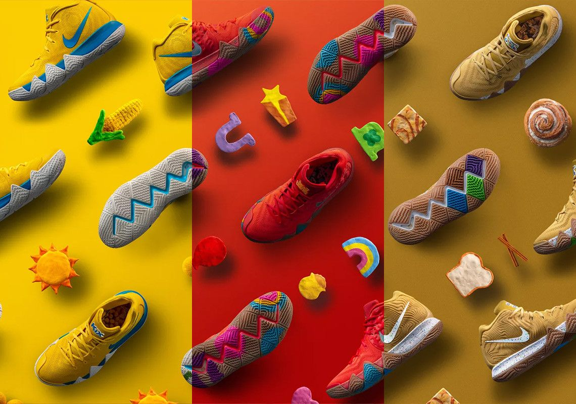 "info for e1688 984bf Nike Kyrie 4 ""Cereal Pack"". Inspired by the NBA superstar s favourite  breakfast cereals, Nike teamed up with General Mills to present three  distinct ..."