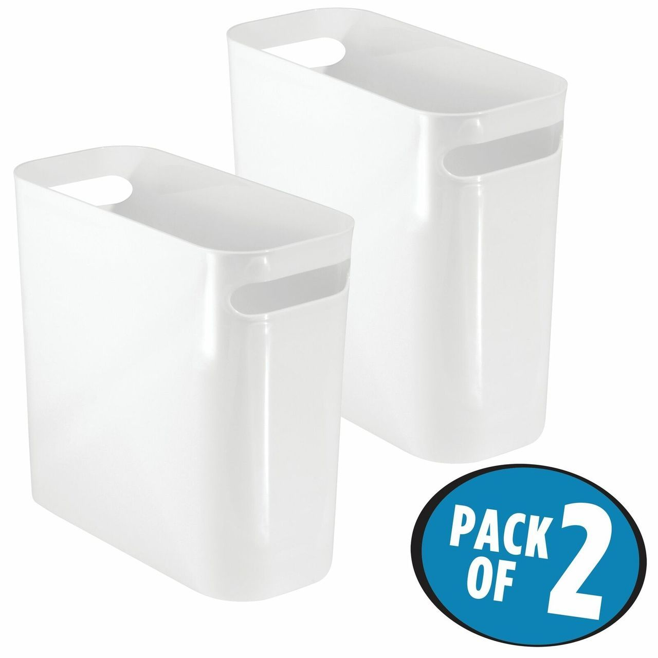 10 High Plastic Slim Trash Can Garbage Bin In White 10 75 X 5 X 10 Set Of 2 By Mdesign In 2020 Garbage Containers Bathroom Vanity Storage Cleaning Wipes