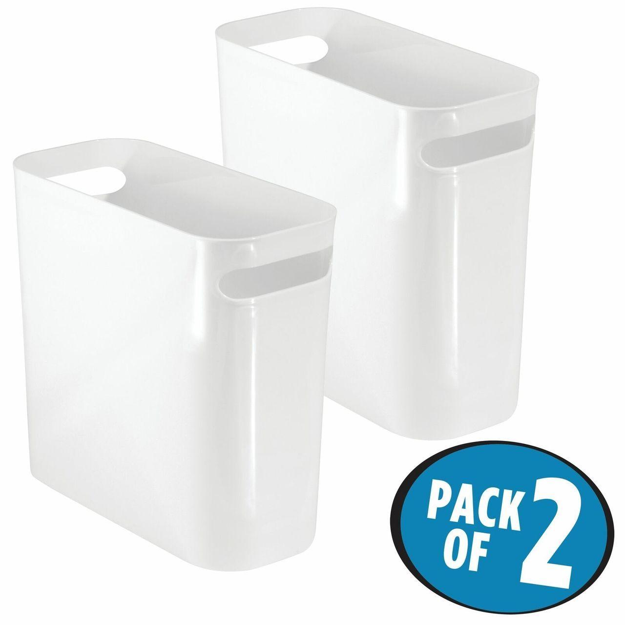10 High Plastic Slim Trash Can Garbage Bin In White 10 75 X 5