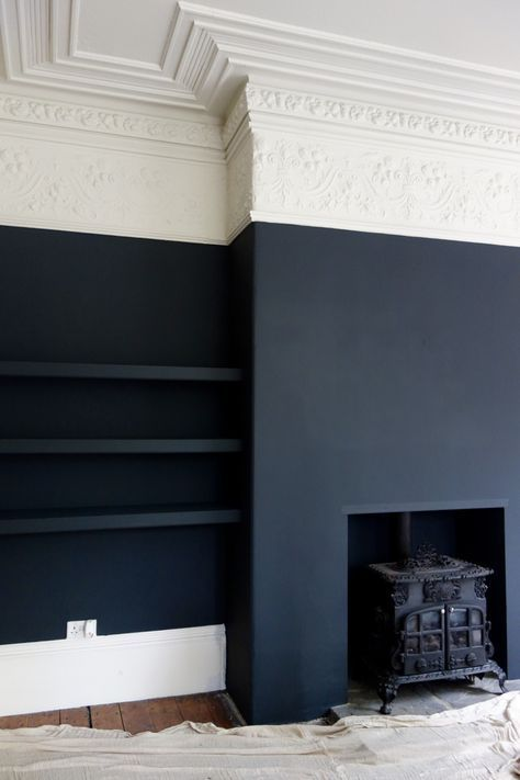 Photo of Farrow & Ball Off Black and Shadow White at the Victorian Villa Project
