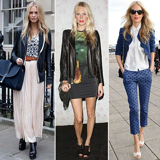 Who: Poppy Delevingne, British model, fashion darling, and brand ambassador for Chanel and the British Fashion Council. Why we love her: Good looks aside, Poppy has a way with clothes. The leggy blonde is a natural at trendspotting and high-low styling with labels like Asos and Topshop. Her cool-girl brand of styling is the kind that's covetable, while seeming totally accessible. Key pieces: Poppy relies on downtown staples like leather jackets, miniskirts, rocker-chic tees, and ankle boots…