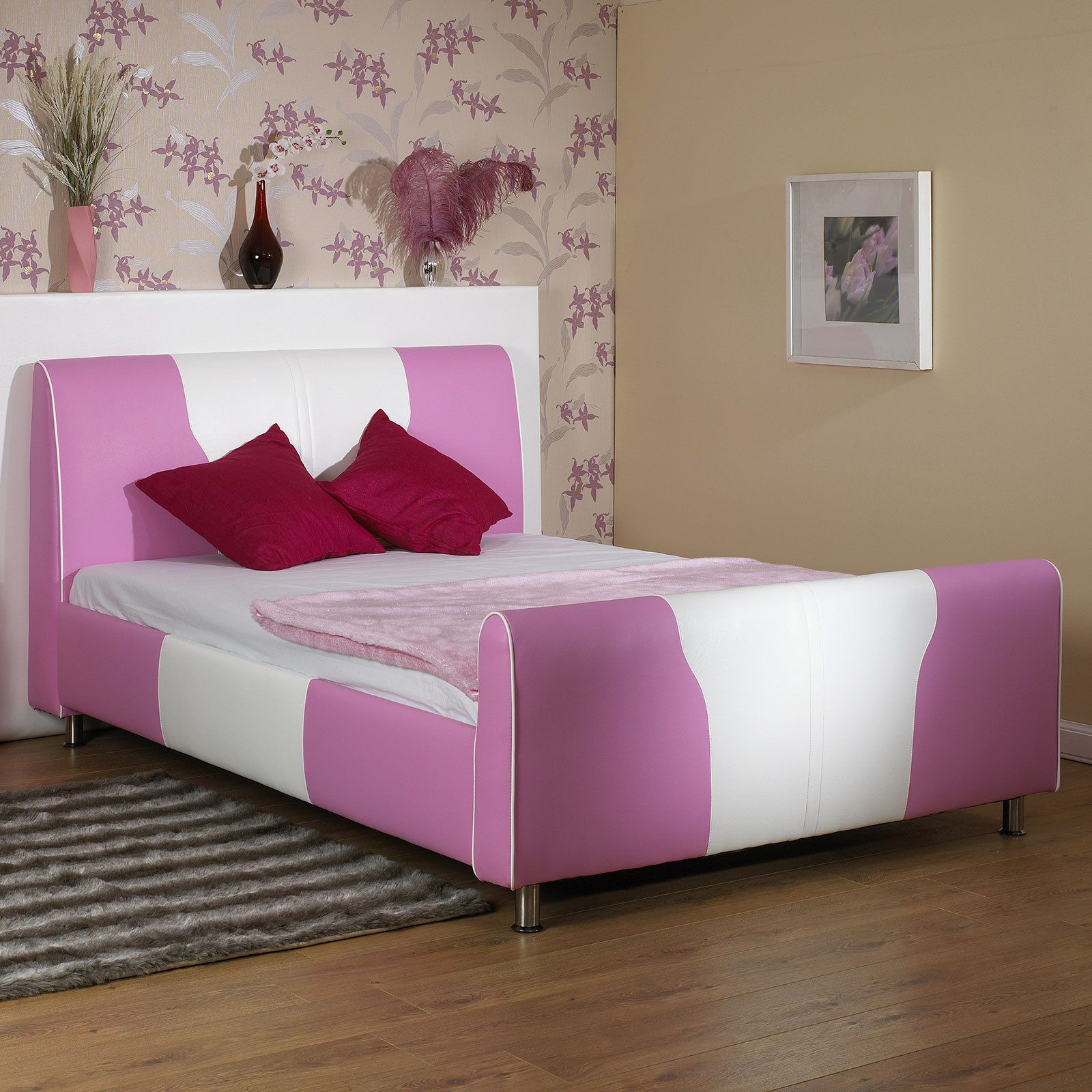 White Faux Leather Ottoman Bed with Storage and