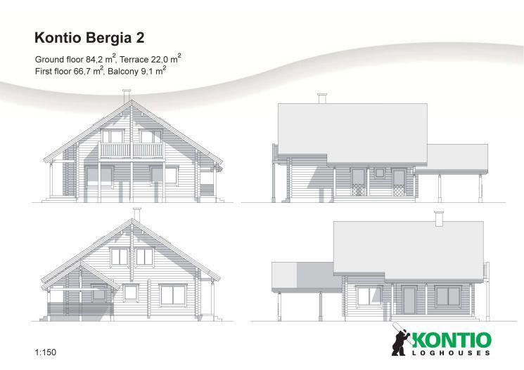 Kontio - Modèle de maison bois Bergia 2 projet Pinterest