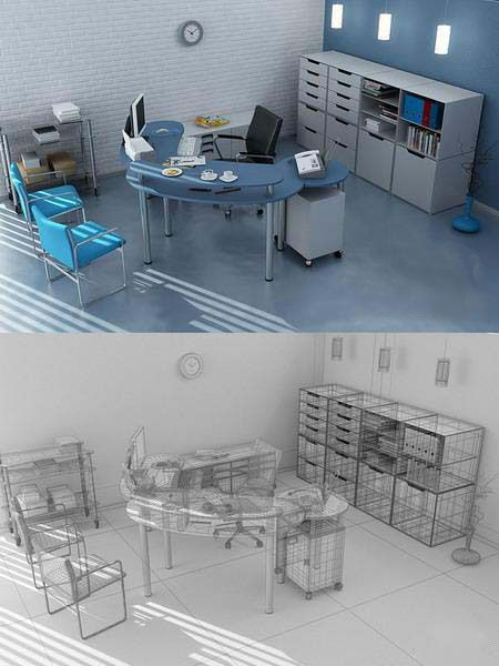 3d Rotating Office Wireframe Max Office Indoors 3d Model
